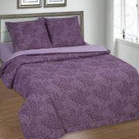«Вирджиния (фиолетовый)» (DE LUXE с простынью на резинке) постельное белье Поплин Евро