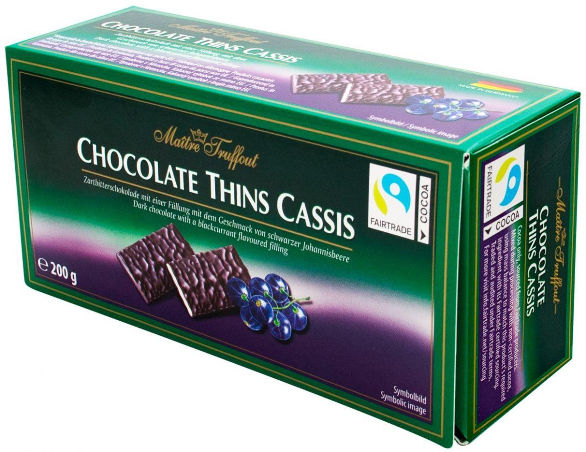 Шоколадные пластины Maitre Truffout (черная смородина) 200г