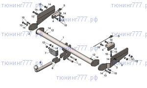 Фаркоп (тсу) Лидер-плюс, крюк на болтах, тяга 1.5т
