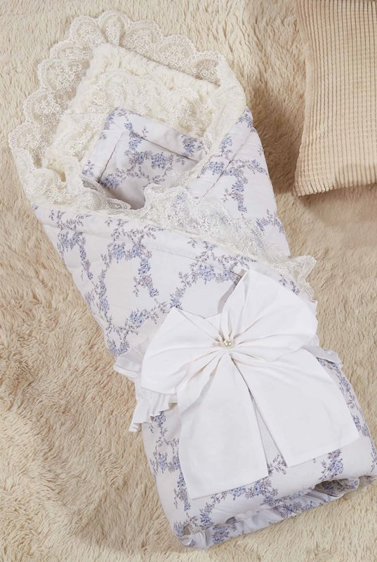 Одеяло-конверт 1.0 Бамбини Кружево (голубой) 100х100