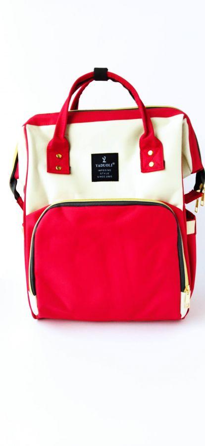 Рюкзак для мам с USB портом красный/белый