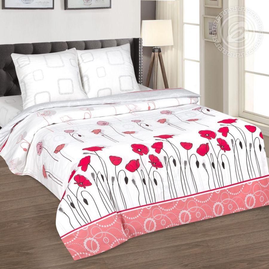 «Маковое поле» (DE LUXE) постельное белье Поплин 2-х спальный с евро