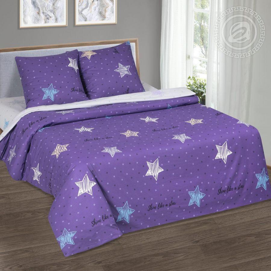 «Небесная фантазия» (DE LUXE) постельное белье Поплин 2-х спальный с евро