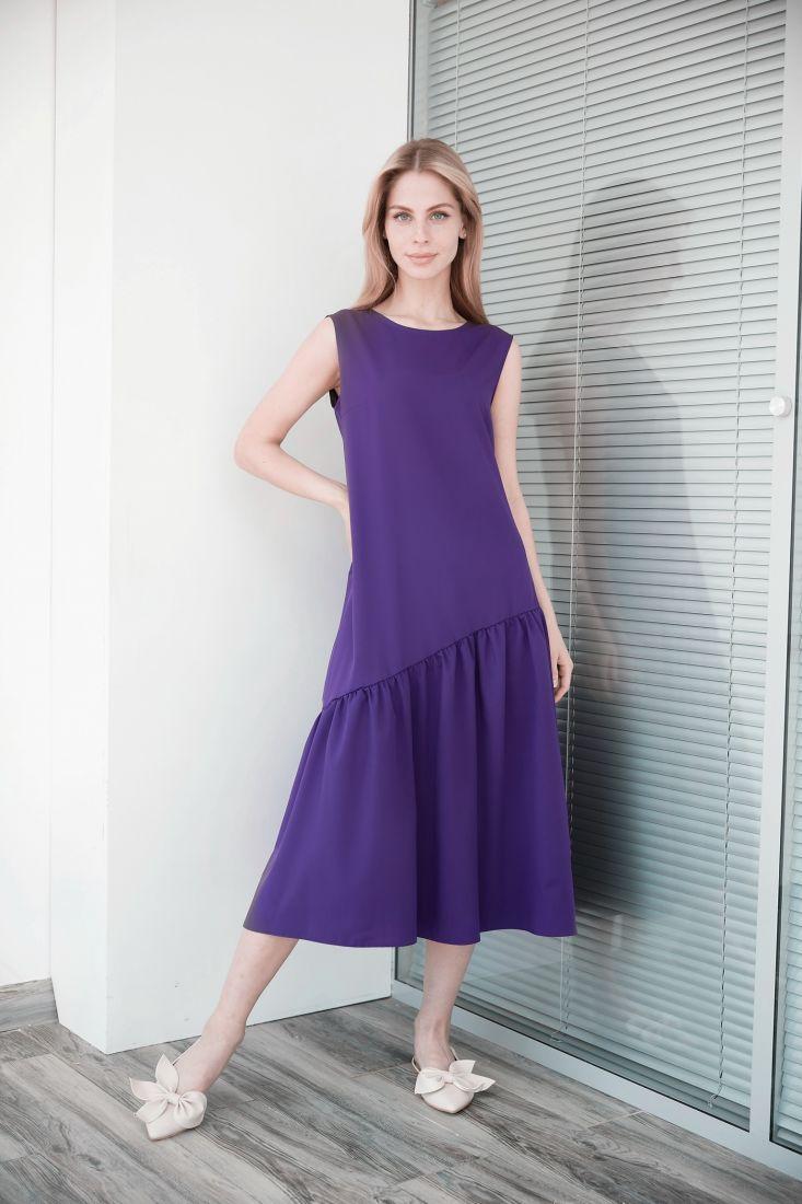 4016 Платье с асимметричным воланом фиолетовое