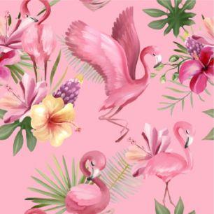 Хлопок Перкаль - Фламинго на розовом 50х37
