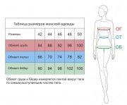 размерная сетка на женский костюм с разрезами