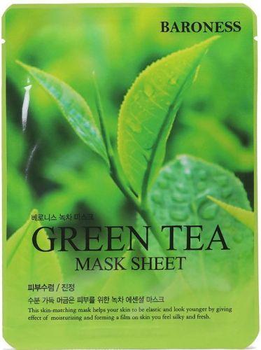 Тканевая маска с экстрактом зеленого чая Baroness Airlaid Face Mask Green Tea 21гр