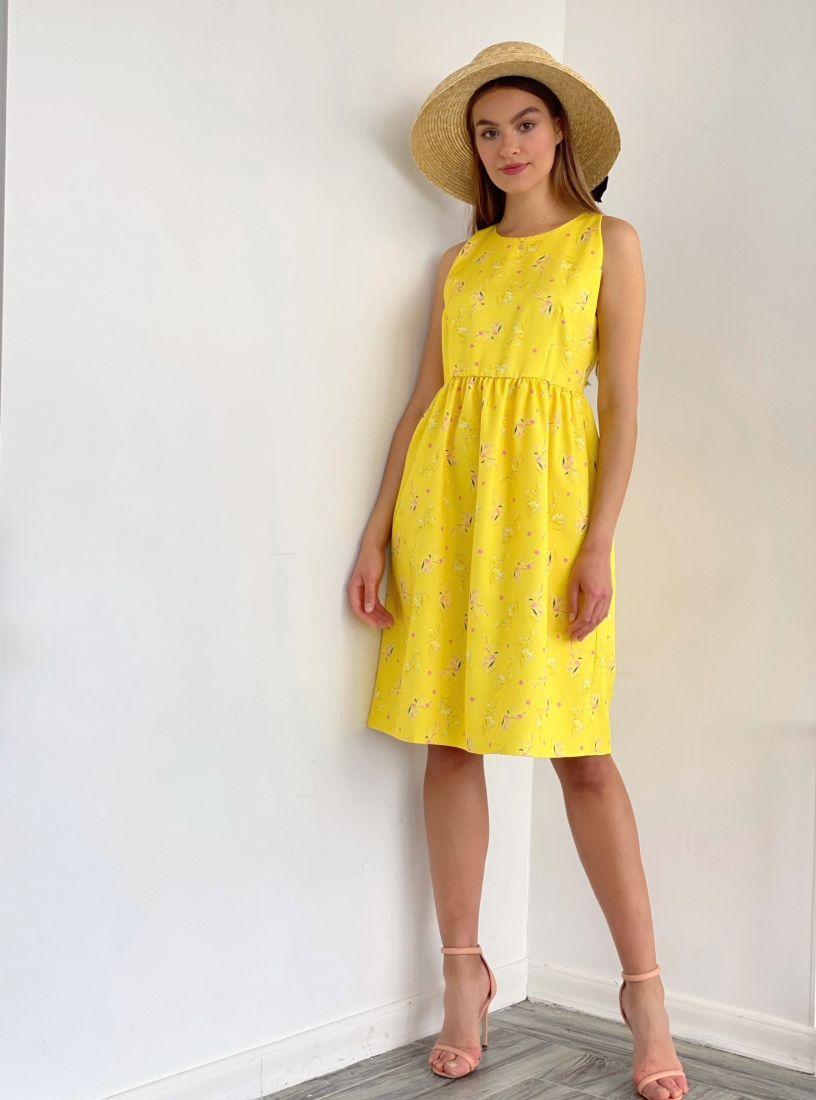4033 Платье с американской проймой лимонное