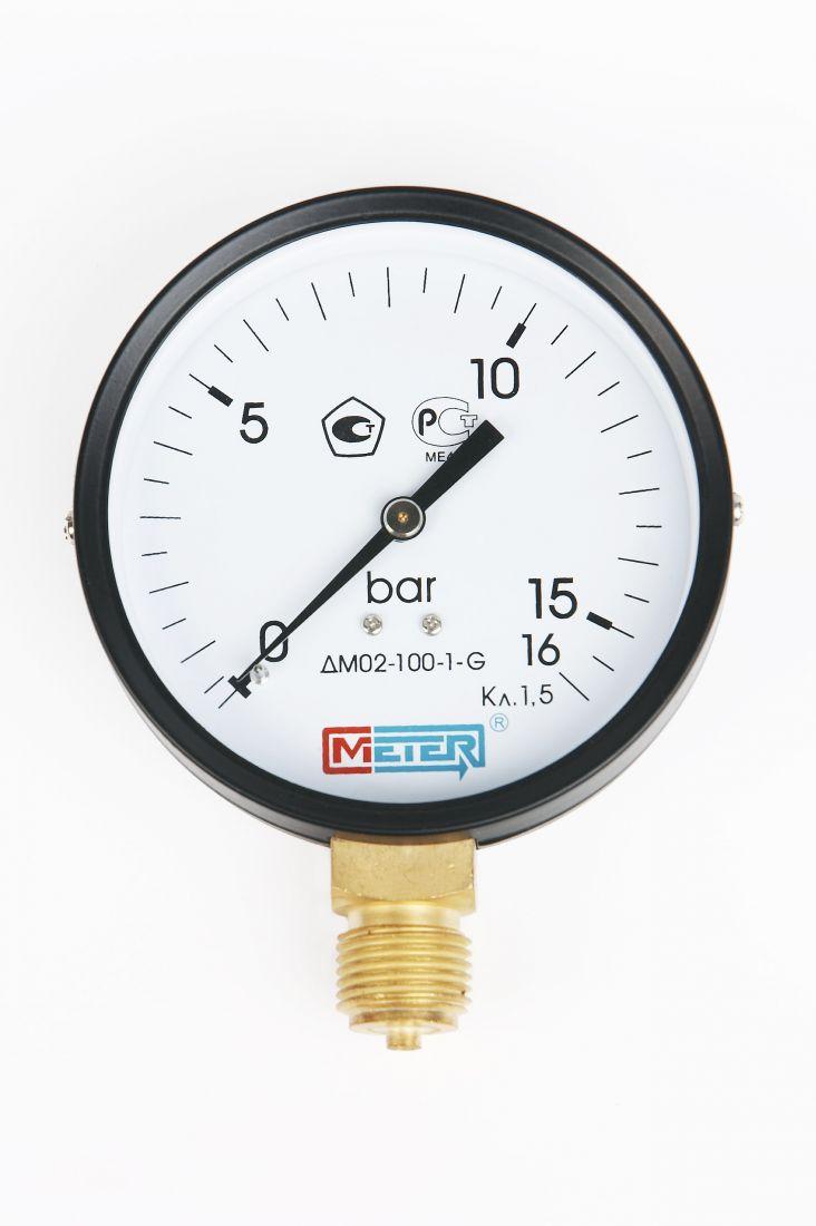 Манометр ДМ02-100 радиальный Дк100мм 0-60 кгс/см2 М20х1,5 Метер