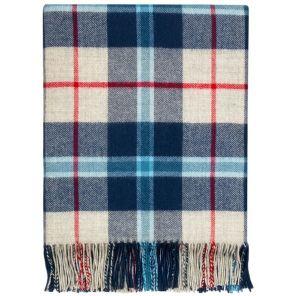 Легкий шотландский плед, расцветка (тартан) клана Дуглас (Морской вариант) DOUGLAS NAVY TARTAN LAMBSWOOL BLANKET, 100 % стопроцентная шотландская овечья шерсть, плотность 6.