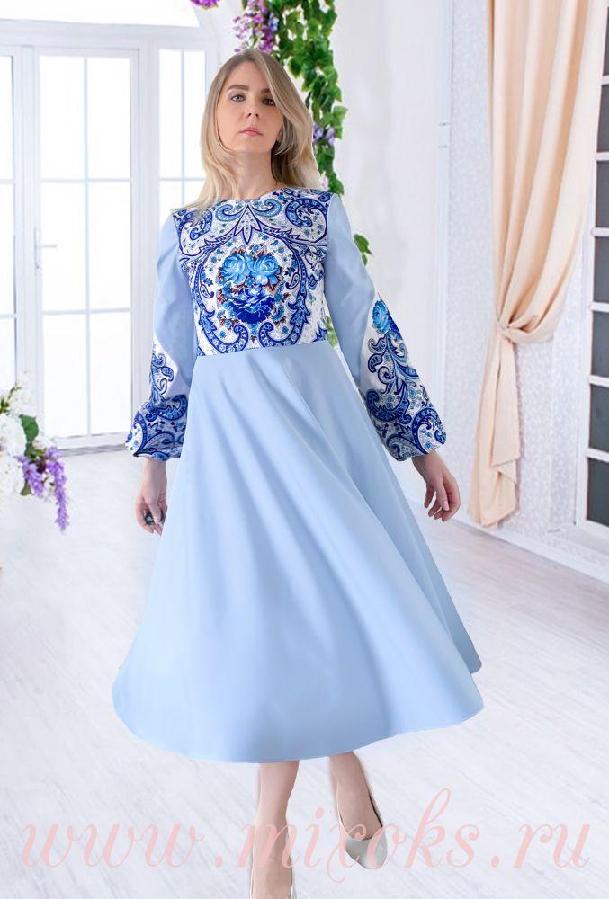 Платье голубое из платка