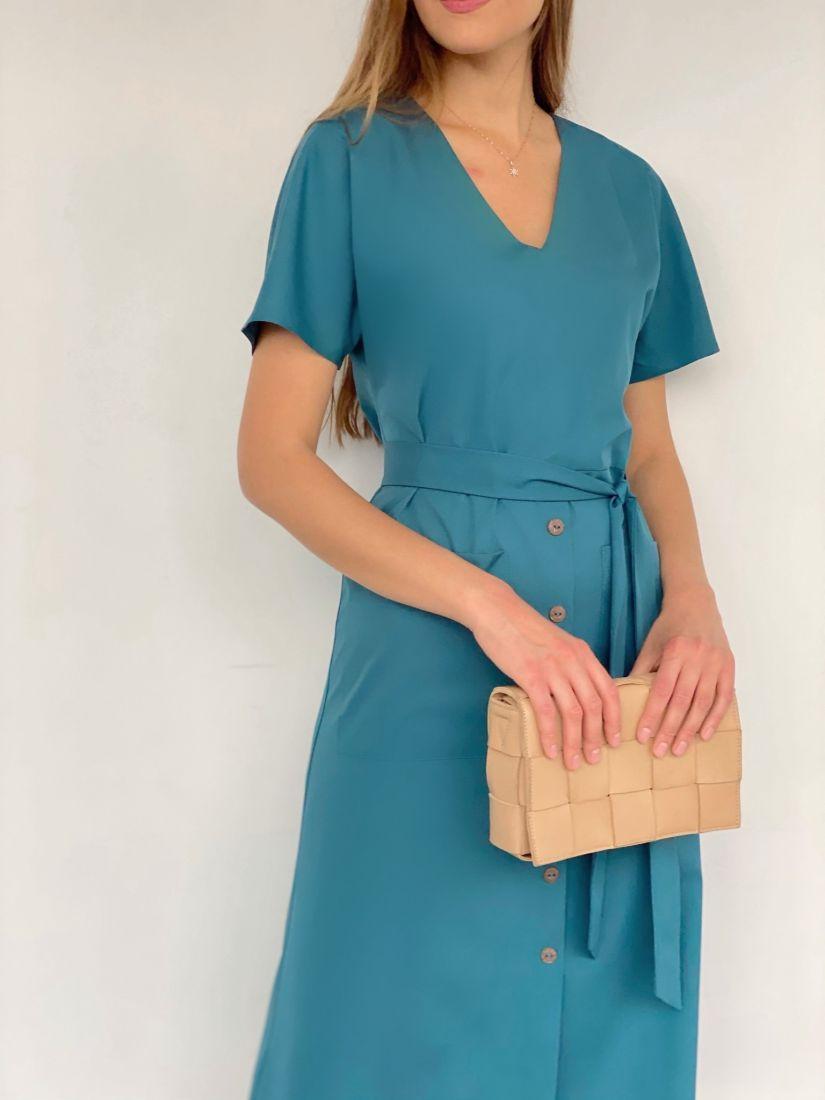 3880 Платье в цвете морской волны с накладными карманами
