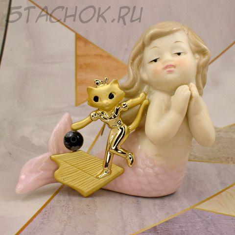 """Брошь """"Кошечка играет в боулинг"""" (Danecraft США)"""