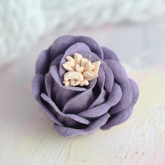 Цветок 3 см. плотный тканевый, сиреневый