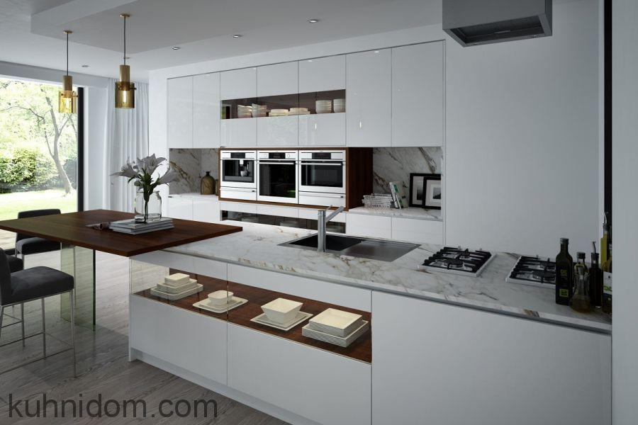 Кухня Combi Белая с островом