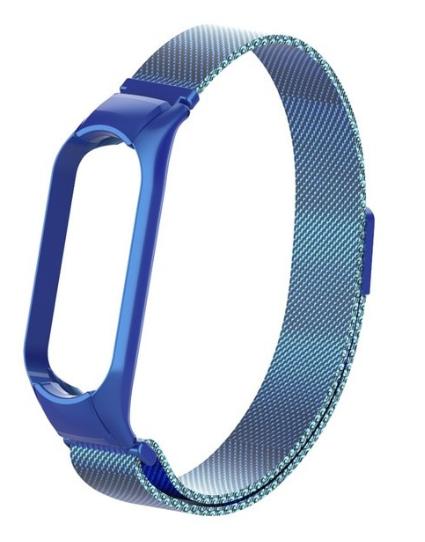 Сменный металлический ремешок с магнитной застежкой на фитнес-браслет Xiaomi mi band 5 ( Синий )