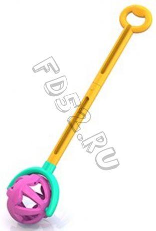 Каталка с ручкой Шарик желто-фиолетовая 106772