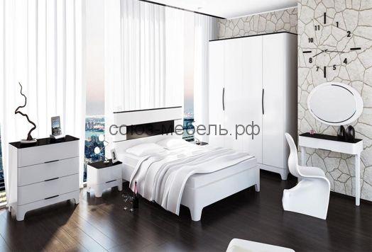 Спальня Верона (комод+тумбочки 2шт+кровать+шкаф-4х+туалетный столик+зеркало)