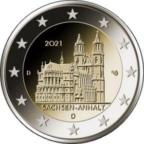Саксония-Ангальт (Магдебургский собор), Германия 2 евро 2021 Двор на выбор UNC