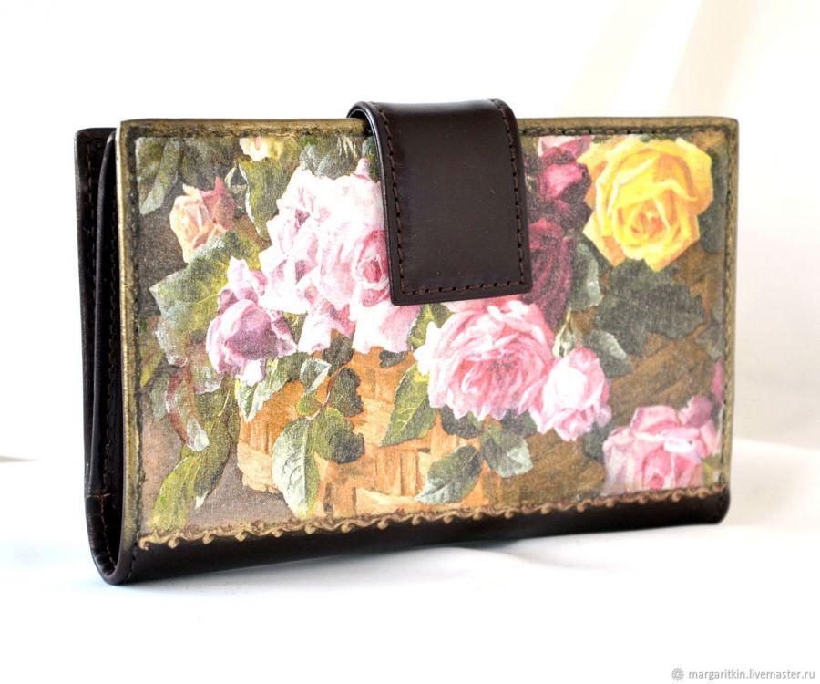 Кожаный кошелёк Корзина роз