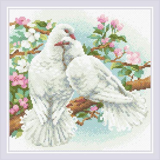 Набор для выкладывания стразами Белые голуби АМ0058 фирма Риолис