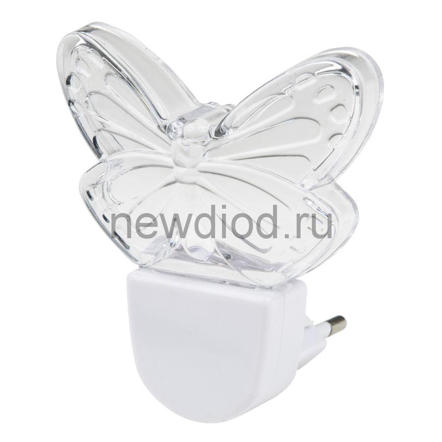 Светильник-ночник Бабочка/White DTL-315 без выключателя белый ТМ Uniel