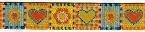 Тесьма декоративная жаккардовая  SAFISA Spiral Сердечки и цветочки 20 мм. разные цвета Испания (9178.20)
