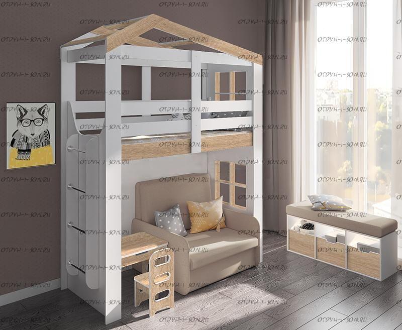 Кровать-чердак с лесенкой (80х160) ДС-34