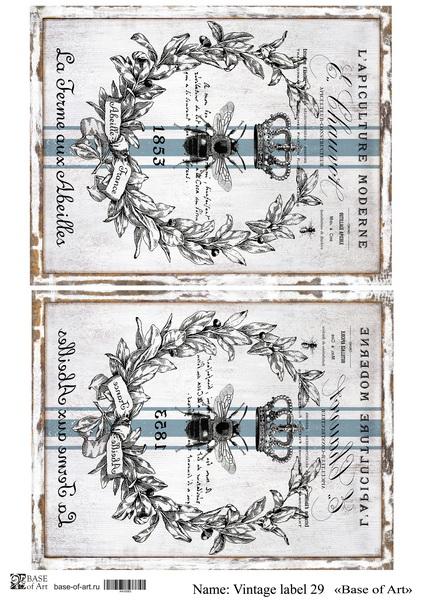 Декупажная карта Base of art, 20*30 см, Vintage label 29