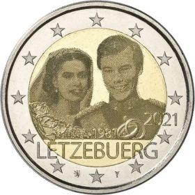 40 лет со дня свадьбы великого герцога 2 евро Люксембург 2021 UNC Набор из 2 монет