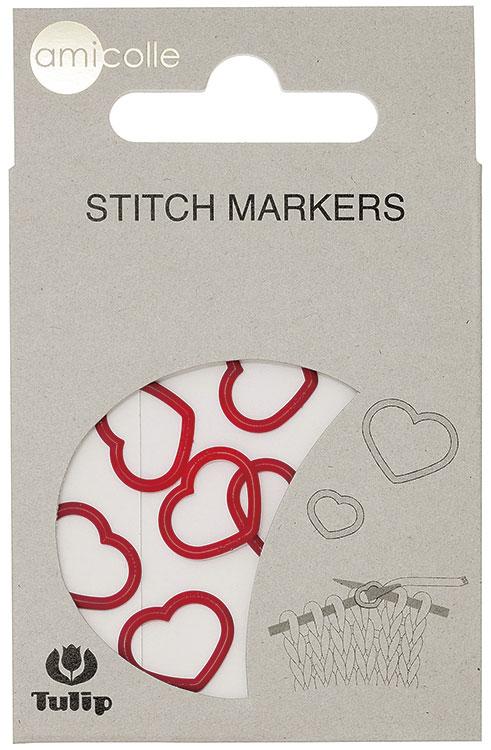 Маркеры для вязания Amicolle СЕРДЦЕ Tulip для спиц диаметром 3,25 - 4,5мм разные цвета Япония (TL.AC-006Е)