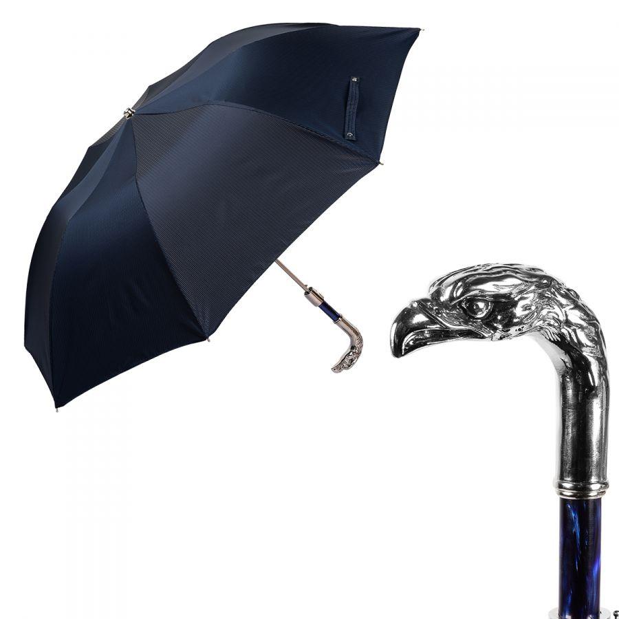 Зонт складной Pasotti Auto Eagle Silver StripesS Dark Blu