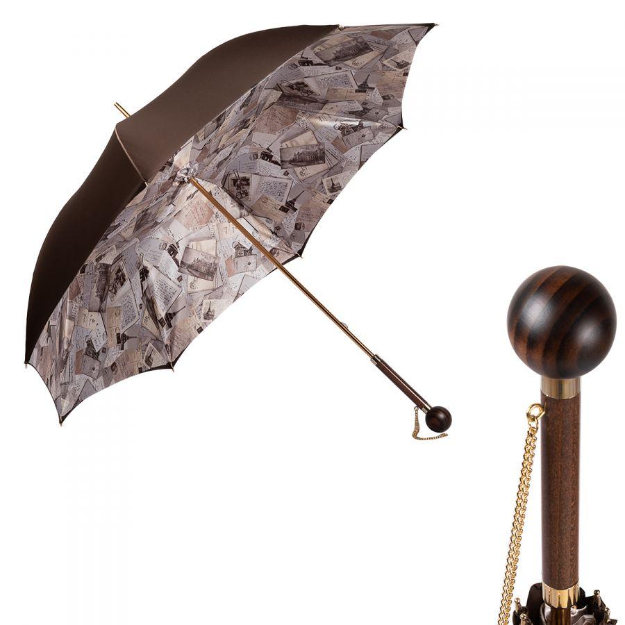 Зонт-трость Pasotti Marrone Lettere Globe Legno