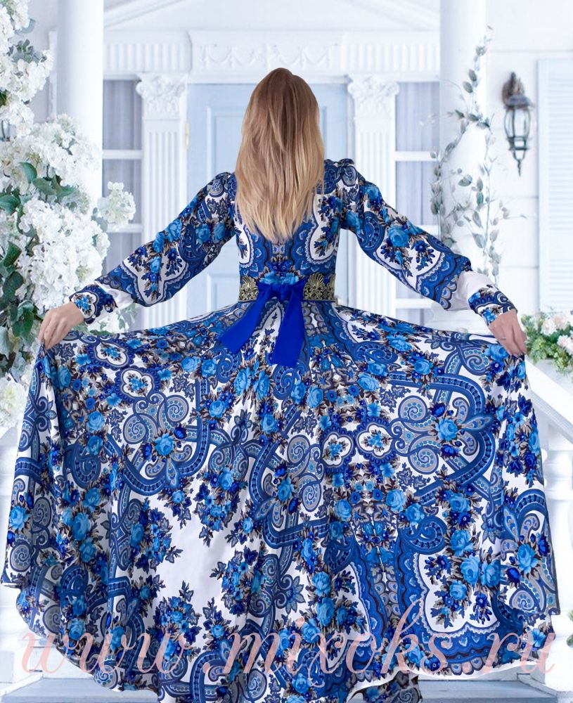 Платье Гжель в пол