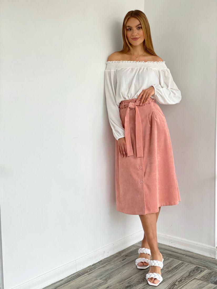 4081 Юбка вельветовая в цвете apricot blush