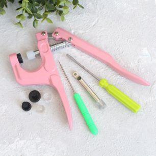 Щипцы / установщик  для пластиковых кнопок, розовые