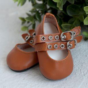 Обувь для кукол - Сандалии коричневые с двойным ремешком, 7 см.