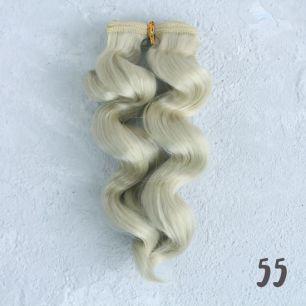 Трессы для создания причеcки куклам - Двойной завиток 15 СМ платиновый блонд