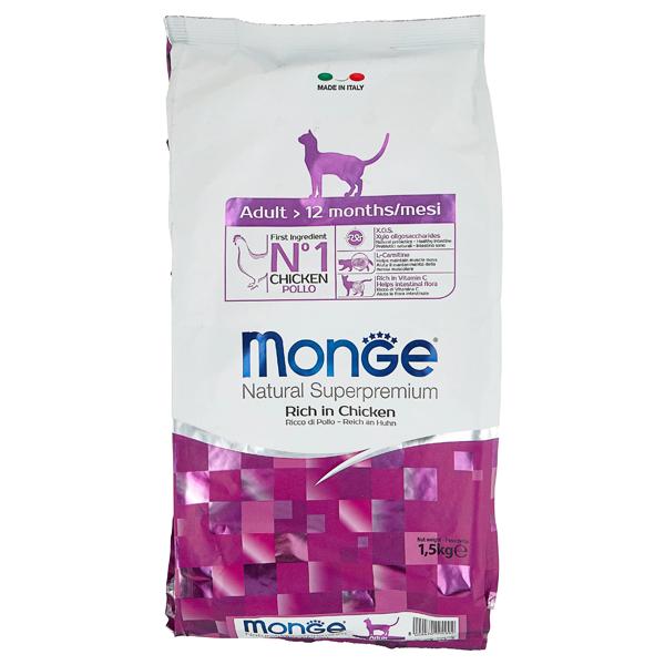 Сухой корм для кошек Monge Natural Superpremium с курицей 1.5 кг