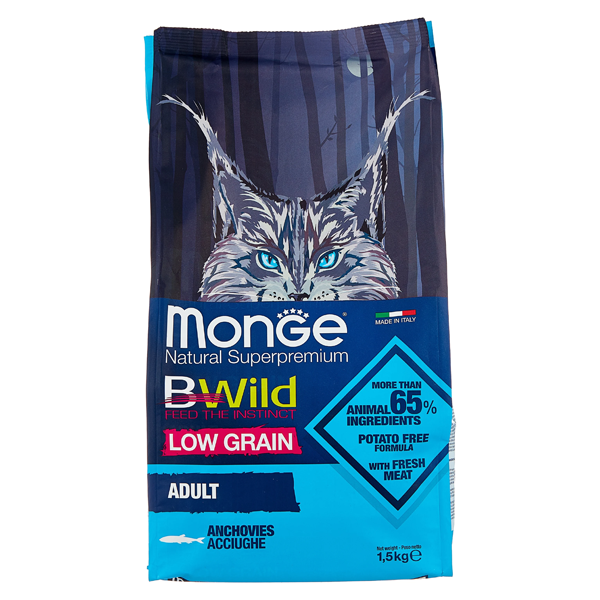 Сухой корм для кошек Monge BWILD Feed the Instinct с анчоусом 1.5 кг