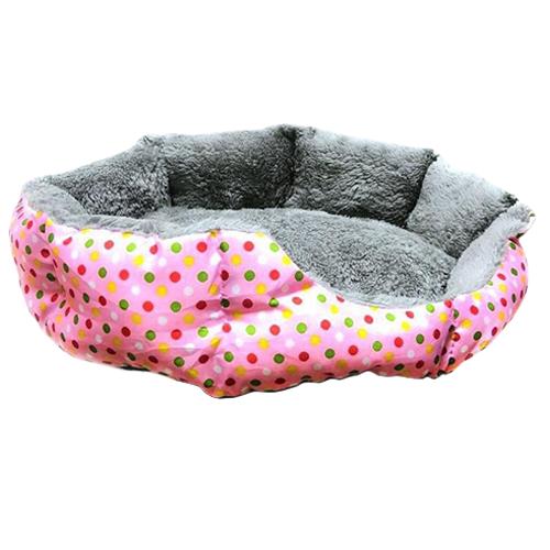 Круглый меховой лежак для кошек и собак. Цвет: розовый.