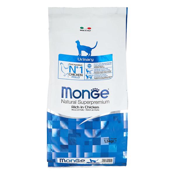 Сухой корм для кошек Monge Superpremium Cat Urinary профилактика МКБ с курицей 1.5 кг