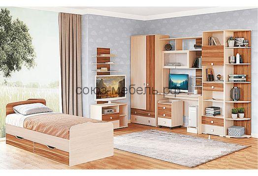Детская Евро (шкаф 2x №4*+стол компьютерный №1+тумба №10+шкаф книжный №7+угол заверш. №8*+кровать 0,8 с ящиками №15+тумба №12+полка №13)
