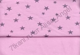 Звезды на розовом интерлок остаток 1,5м