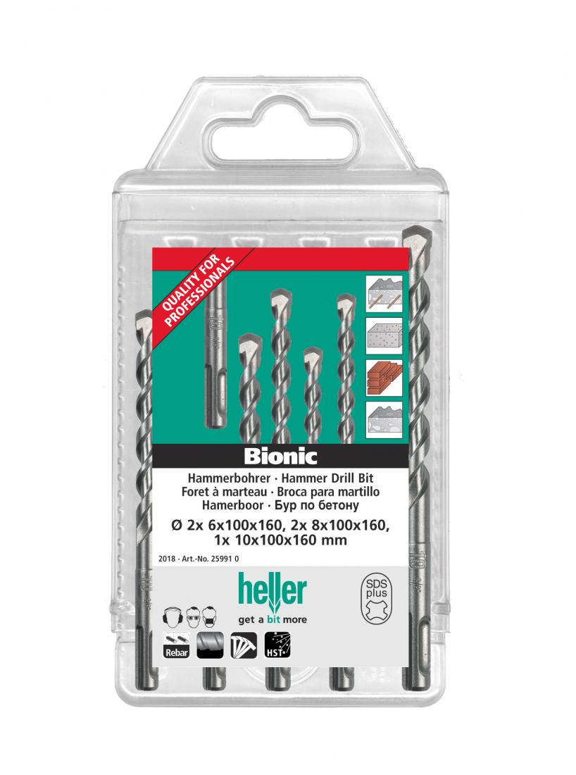 Набор буров Heller по бетону SDS-plus Bionic Pro: 6х2,8х2,10 x 160мм (5 пр.)