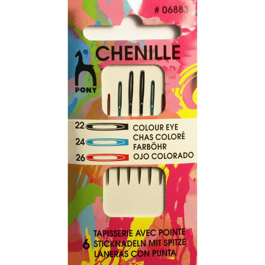 Иглы PONY Chenille для синели, глади и штопки ассорти размеров 22, 24, 26 в упаковке 6 штук (06883)