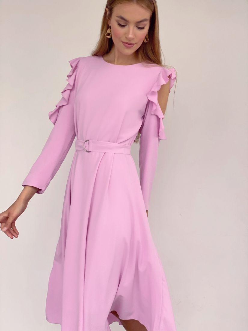 3609 Платье с открытыми плечами нежно-розовое