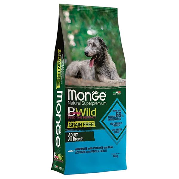 Сухой корм для собак Monge BWILD Feed the Instinct с анчоусом картофелем и горошком 12 кг