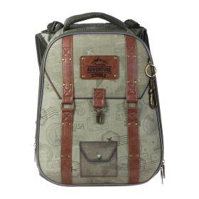 Рюкзак каркасный Hatber Ergonomic 37 х 29 х 17, для мальчика Adventure, зеленый