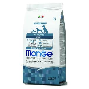 Сухой корм для собак Monge Monoprotein форель с рисом и картофелем 2.5 кг